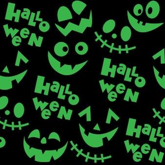 Ilustracja wektorowa z sylwetkami śmiesznych twarzy na wzór halloween