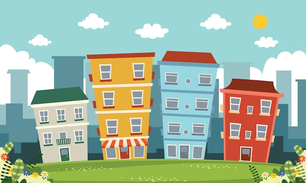 Ilustracja wektorowa z widokiem na miasto