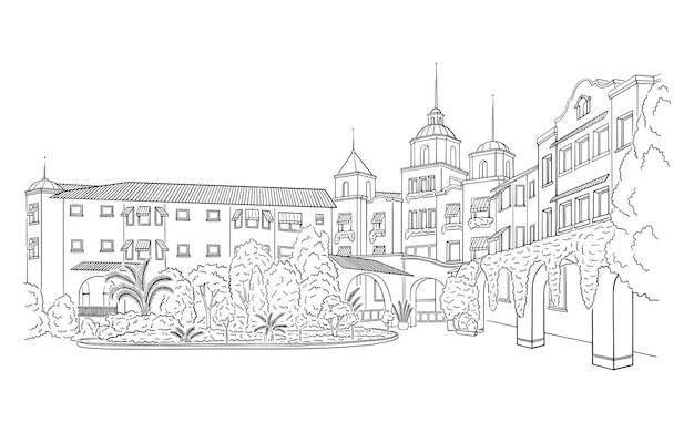 Ilustracja wektorowa z zabytkowym budynkiem posiadłości szkic