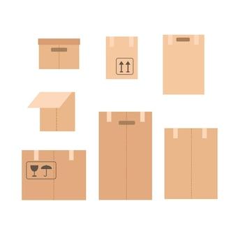 Ilustracja wektorowa z zestawem papierowych pudełek na białym tle.
