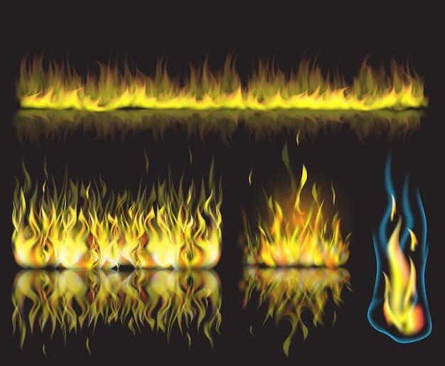 Ilustracja wektorowa z zestawem płonących płomieni ognia na czarnym tle.