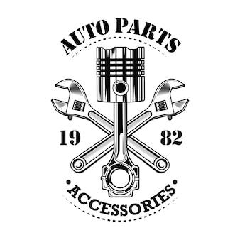 Ilustracja wektorowa zabytkowych części samochodowych. chromowany tłok, konstrukcja skrzyżowanych kluczy, tekst części samochodowych i akcesoriów. serwis samochodowy lub koncepcja garażu dla emblematów