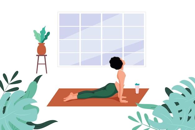 Ilustracja wektorowa zajęć jogi z trenerem online koncepcja w okresie kwarantanny