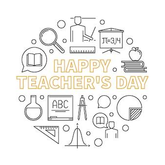 Ilustracja wektorowa zarys szczęśliwy dzień nauczyciela