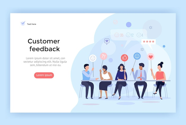 Ilustracja wektorowa zarządzania opiniami klientów idealna do aplikacji mobilnej z banerem do projektowania stron internetowych