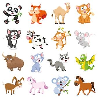 Ilustracja wektorowa zbioru zwierząt kreskówek