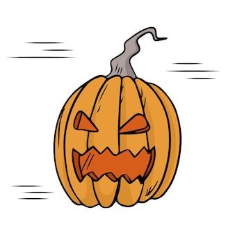 Ilustracja wektorowa zbiory. straszna dynia na halloween. straszna twarz. białe tło.
