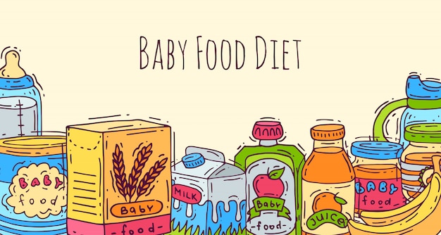 Ilustracja wektorowa zdrowe dziecko. pierwszy posiłek dla niemowląt. butelki dla niemowląt, słoiki z puree, kubki i pudełka z owsianką. odżywianie zdrowia dzieci.