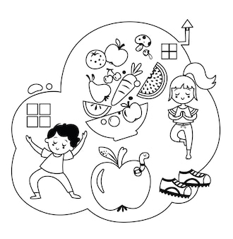 Ilustracja wektorowa zdrowego stylu życia czarno-białe