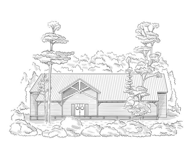 Ilustracja wektorowa ze stylem rezydencji wiejskiej szkic zabytkowego budynku