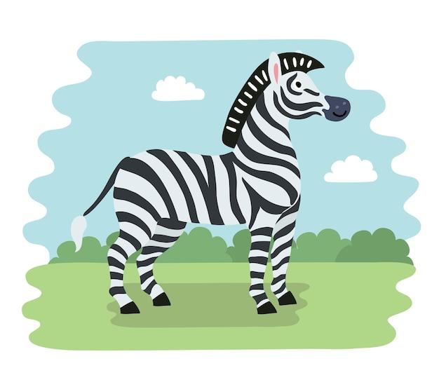Ilustracja wektorowa zebry z kreskówek z prostymi gradientami w jednej warstwie dla łatwej edycji
