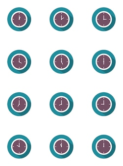 Ilustracja wektorowa zegara zestaw 24 godzin z długim cieniem w płaski na niebieski i purpl
