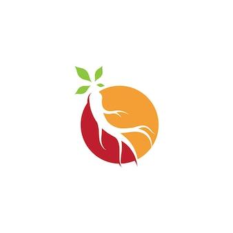 Ilustracja wektorowa żeń-szenia. symbol logo korzenia żeń-szenia