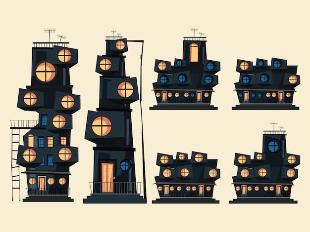 Ilustracja wektorowa zestaw budynku