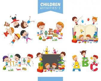 Ilustracja wektorowa zestaw działań dla dzieci