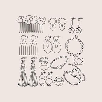 Ilustracja wektorowa zestaw elementów biżuterii. nowoczesne dodatki - naszyjnik z pereł, koraliki, pierścionek, kolczyki, bransoletka, grzebień do włosów.
