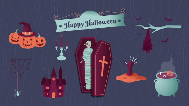 Ilustracja wektorowa zestaw elementów halloween