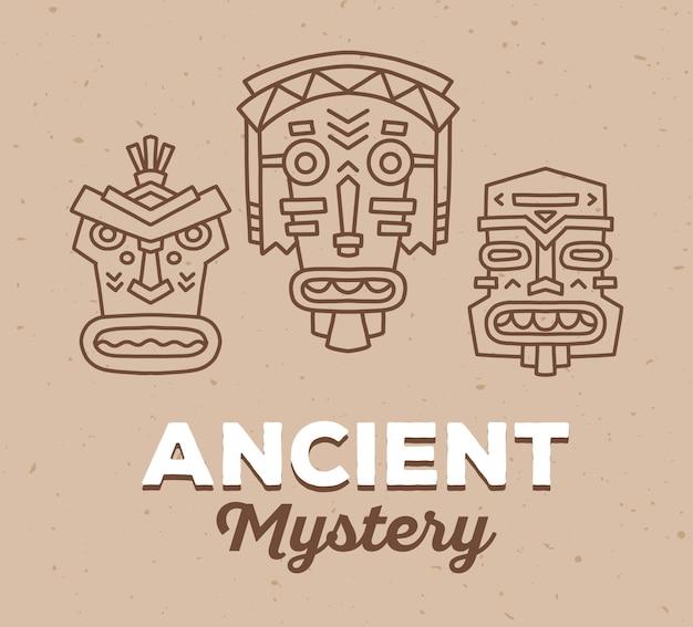 Ilustracja wektorowa zestaw etnicznych plemiennych kolorowych masek z białym tekstem na jasnobrązowym piasku tekstury tła. maska etniczna.