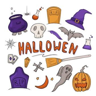 Ilustracja wektorowa zestaw ikon. doodle naklejki z motywem halloween. dekoracja tła
