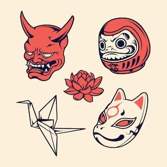 Ilustracja wektorowa zestaw ikon japonii