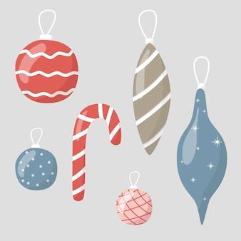 Ilustracja wektorowa, zestaw ikon kreskówek. świąteczne zabawki ze szkła. dekoracje na nowy rok i boże narodzenie.