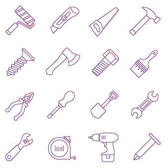 Ilustracja wektorowa. zestaw ikon linii. narzędzia pracy w prostej konstrukcji