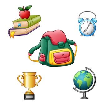 Ilustracja wektorowa zestaw ikon przyborów szkolnych