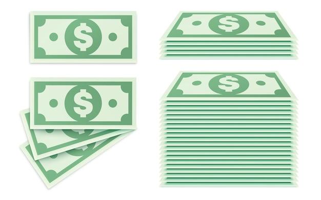 Ilustracja wektorowa, zestaw pieniędzy w pakietach.