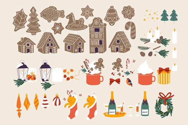 Ilustracja wektorowa zestaw świąteczny z sezonowymi zimowymi i tradycyjnymi atrybutami świątecznymi wesołych świąt...