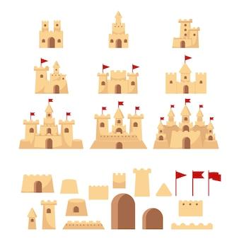 Ilustracja wektorowa zestaw zamek z piasku
