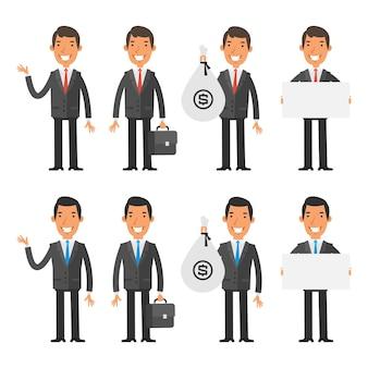 Ilustracja wektorowa, zestaw znaków biznesmen, format eps 10