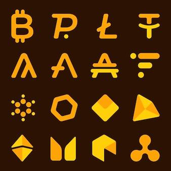 Ilustracja wektorowa zestawu kryptowalut. ikony, symbole walut. rachunek online. baner z ciemnobrązowym tłem.