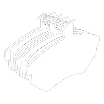 Ilustracja wektorowa zestawu nowych klocków hamulcowych samochodu - zestaw zamienny