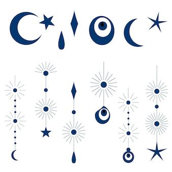 Ilustracja wektorowa zestawu orientalnych elementów księżyc, nazar, gwiazda