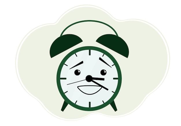 Ilustracja wektorowa zielonego budzika z emocją zakłopotania i zakłopotania