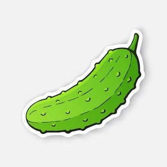 Ilustracja wektorowa zielony ogórek z łodygą zdrowe wegetariańskie jedzenie składnik sałatki