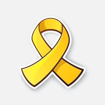 Ilustracja wektorowa złota wstążka symbol samobójstwa raka dzieciństwa lub świadomości endometriozy