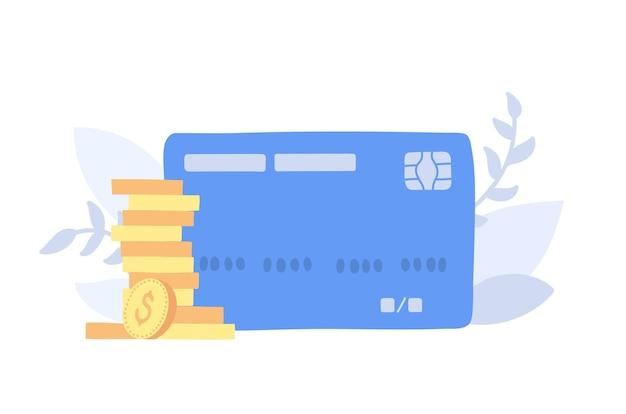 Ilustracja wektorowa złotych monet i plastikowej karty banku. stosy monet; znak pieniędzy.