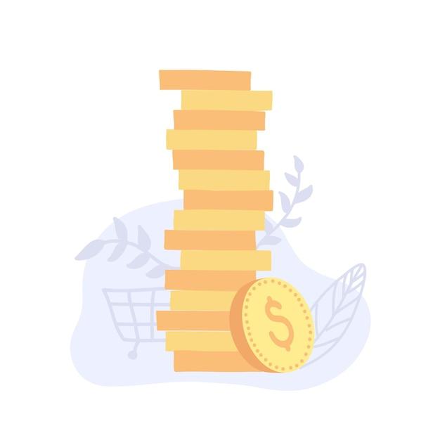 Ilustracja wektorowa złotych monet. stosy monet, znak pieniędzy. na białym tle.