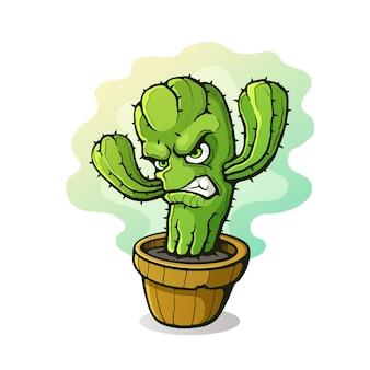 Ilustracja wektorowa zły ciernisty kaktus zacisnął zęby ze złości w doniczce postać z kreskówki