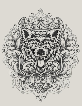 Ilustracja wektorowa zły wilk głowy z antycznym ornamentem