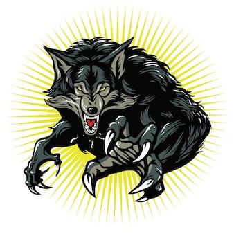 Ilustracja wektorowa zły wilkołak logo design