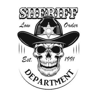 Ilustracja wektorowa znak departamentu szeryfa. kreskówka czaszka w kapeluszu szeryfa z tekstem