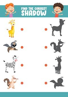 Ilustracja wektorowa znalezienia prawidłowego ćwiczenia cienia