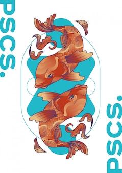 Ilustracja wektorowa zodiaku ryby
