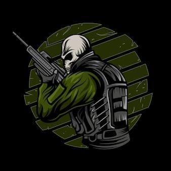 Ilustracja wektorowa żołnierz czaszki