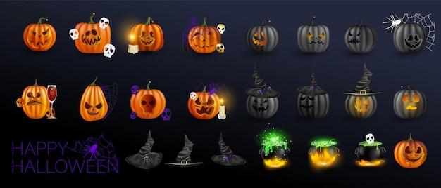Ilustracja wektorowa. żółte dynie na halloween. jack-o-lantern wyraz twarzy. horrory na ciemnym tle