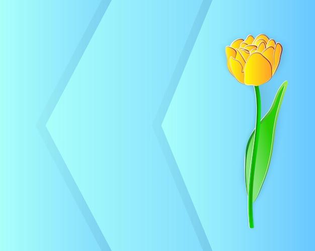 Ilustracja wektorowa, żółty kwiat tulipana w stylu cięcia papieru na niebieskim tle z przestrzenią