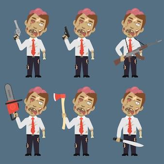 Ilustracja wektorowa, zombie trzyma broń maczeta topór łańcuchowy, format eps 10