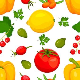 Ilustracja wektorowa źródła żywności witaminy c. żywność zawierająca kwas askorbinowy. owoce i warzywa.cytryna, papryka, pomidor, rokitnik, czerwona porzeczka, śliwka kakadu, dzika róża. ilustracja wektorowa